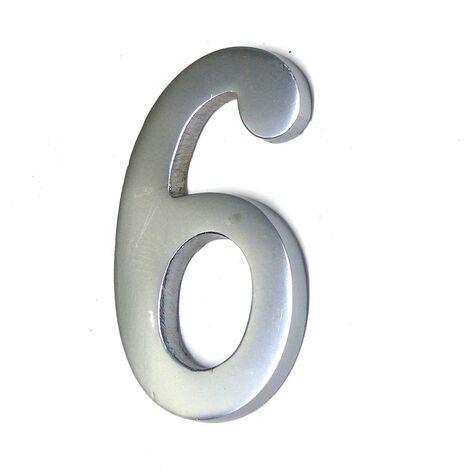 NUMERO 6 NIQUEL MATE 10CM FIJACION INVISIBLE