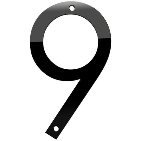 Numero de maison 3D 5 pouces en acier inoxydable noir, numero 9