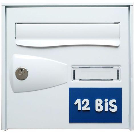 Numéro de maison / rue 3D personnalisé couleur bleu chiffres blancs - 12 cm x 8 cm - Plastique - 4,2 - Plastique