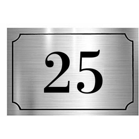 Numéro de maison / rue gravé et personnalisé couleur argent chiffres noirs - Signalétique extérieure - Plastique - 1,6 - Plastique