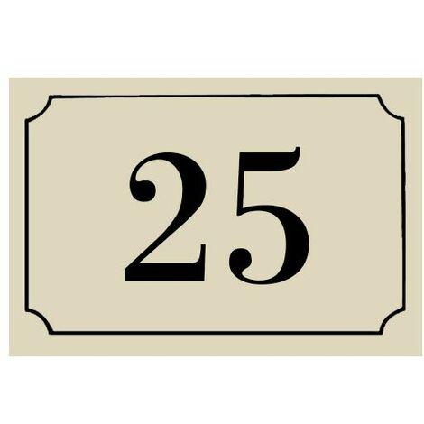 Numéro de maison / rue gravé et personnalisé couleur beige chiffres noirs - Signalétique extérieure - Plastique - 1,6 - Plastique