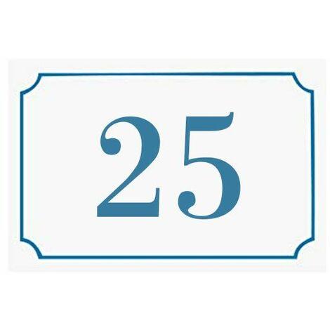 Numéro de maison / rue gravé et personnalisé couleur blanc chiffres bleus - Signalétique extérieure - Plastique - 1,6 - Plastique