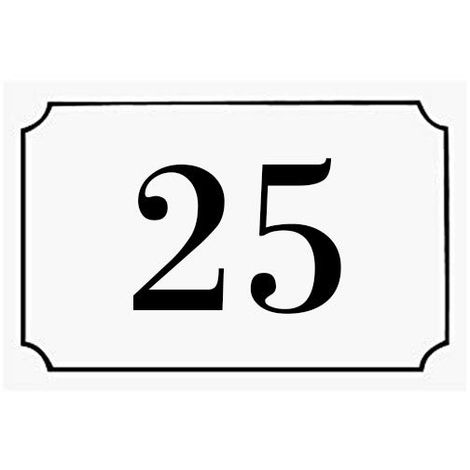 Numéro de maison / rue gravé et personnalisé couleur blanc chiffres noirs - Signalétique extérieure - Plastique - 1,6 - Plastique