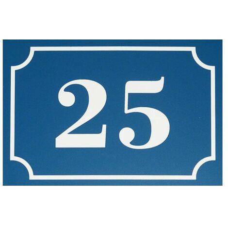 Numéro de maison / rue gravé et personnalisé couleur bleu chiffres blancs - Signalétique extérieure - Plastique - 1,6 - Plastique