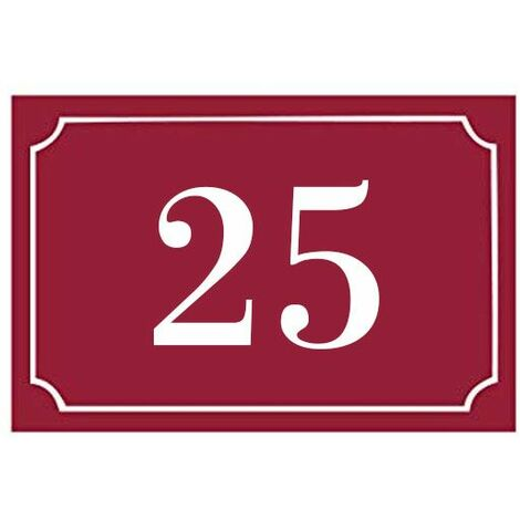Numéro de maison / rue gravé et personnalisé couleur bordeaux chiffres blancs - Signalétique extérieure - Plastique - 1,6 - Plastique
