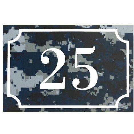 Numéro de maison / rue gravé et personnalisé couleur Camo Bleu chiffres blancs - Signalétique extérieure - Plastique - 1,6 - Plastique