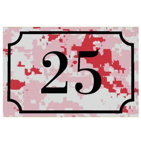 Numéro de maison / rue gravé et personnalisé couleur Camo Rose chiffres noirs - Signalétique extérieure - Plastique - 1,6 - Plastique