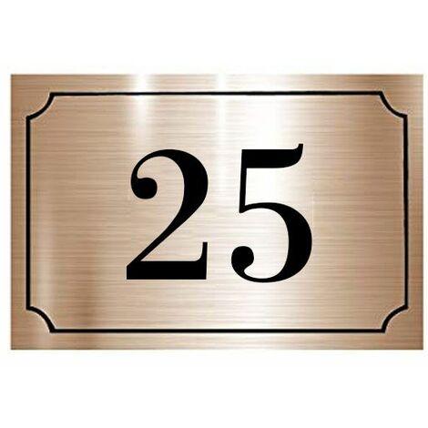 Numéro de maison / rue gravé et personnalisé couleur cuivre chiffres noirs - Signalétique extérieure - Plastique - 1,6 - Plastique