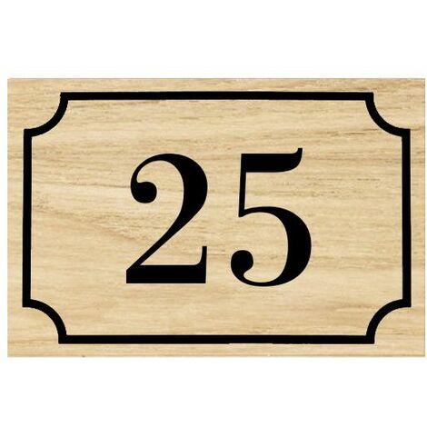 Numéro de maison / rue gravé et personnalisé couleur effet bois clair chiffres noirs - Signalétique extérieure - Plastique - 1,6 - Plastique