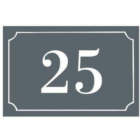 Numéro de maison / rue gravé et personnalisé couleur gris chiffres blancs - Signalétique extérieure - Plastique - 1,6 - Plastique