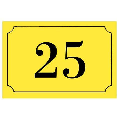 Numéro de maison / rue gravé et personnalisé couleur jaune chiffres noirs - Signalétique extérieure - Plastique - 1,6 - Plastique