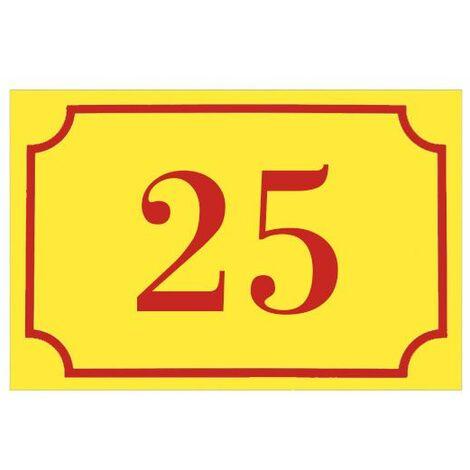 Numéro de maison / rue gravé et personnalisé couleur jaune chiffres rouges - Signalétique extérieure - Plastique - 1,6 - Plastique