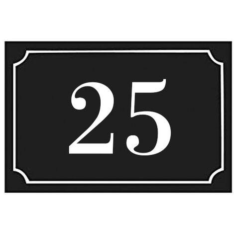 Numéro de maison / rue gravé et personnalisé couleur noir chiffres blancs - Signalétique extérieure - Plastique - 1,6 - Plastique