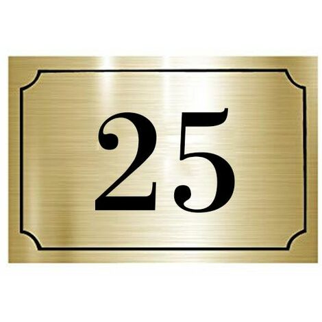 Numéro de maison / rue gravé et personnalisé couleur or brossé chiffres noirs - Signalétique extérieure - Plastique - 1,6 - Plastique