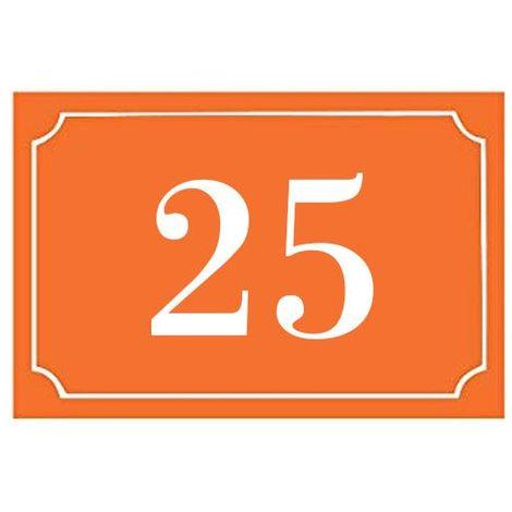 Numéro de maison / rue gravé et personnalisé couleur orange chiffres blancs - Signalétique extérieure - Plastique - 1,6 - Plastique
