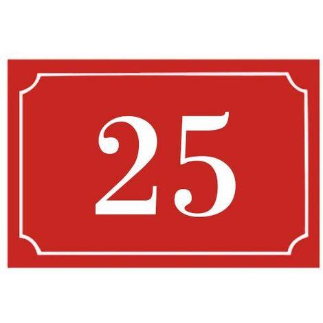 Numéro de maison / rue gravé et personnalisé couleur rouge chiffres blancs - Signalétique extérieure - Plastique - 1,6 - Plastique