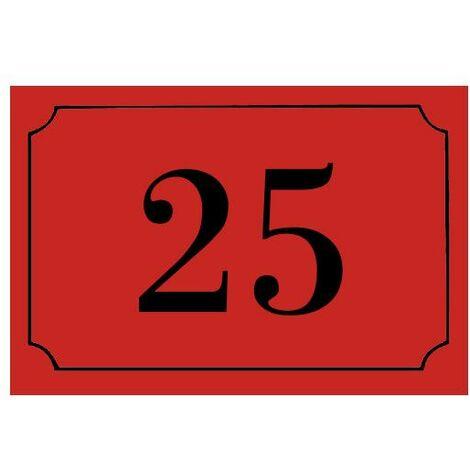 Numéro de maison / rue gravé et personnalisé couleur rouge chiffres noirs - Signalétique extérieure - Plastique - 1,6 - Plastique