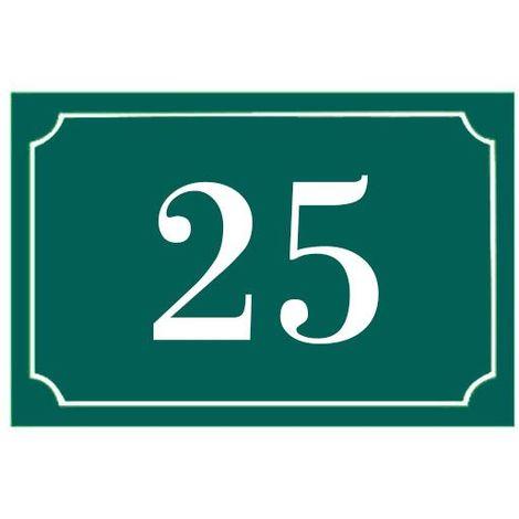 Numéro de maison / rue gravé et personnalisé couleur vert foncé chiffres blancs - Signalétique extérieure - Plastique - 1,6 - Plastique