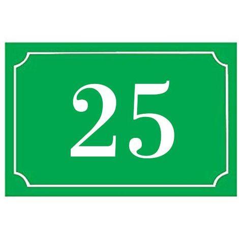 Numéro de maison / rue gravé et personnalisé couleur vert pomme chiffres blancs - Signalétique extérieure - Plastique - 1,6 - Plastique