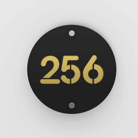 Numéro de rue / maison noir mat avec fond personnalisable - Modèle Round - Numéro rond diamètre 20 cm - Plexi - 6 - Plexi