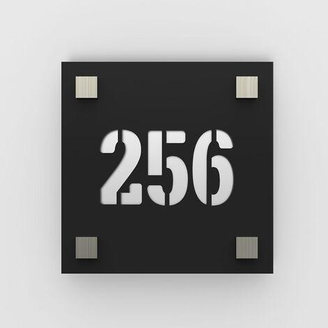 Numéro de rue / maison noir mat avec fond personnalisable - Modèle Square - Numéro carré 20 x 20 cm - Plexi - 6 - Plexi