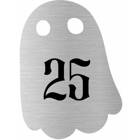 Numéro fantaisie personnalisable pour boite aux lettres couleur argent chiffres noirs - Modèle Fantôme