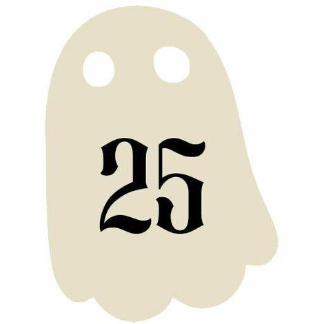 Numéro fantaisie personnalisable pour boite aux lettres couleur beige chiffres noirs - Modèle Fantôme