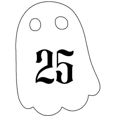 Numéro fantaisie personnalisable pour boite aux lettres couleur blanc chiffres noirs - Modèle Fantôme