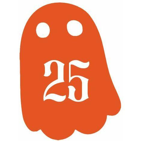 Numéro fantaisie personnalisable pour boite aux lettres couleur orange chiffres blancs - Modèle Fantôme