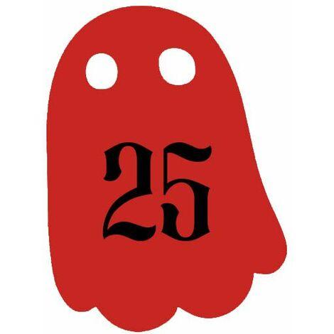 Numéro fantaisie personnalisable pour boite aux lettres couleur rouge chiffres noirs - Modèle Fantôme