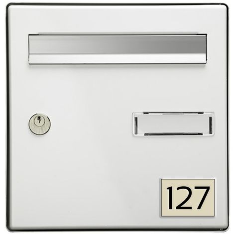 Numéro pour boite aux lettres personnalisable rectangle format médium (70x50mm) beige chiffres noirs