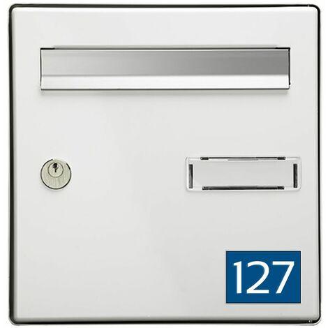 Numéro pour boite aux lettres personnalisable rectangle format médium (70x50mm) bleu chiffres blancs