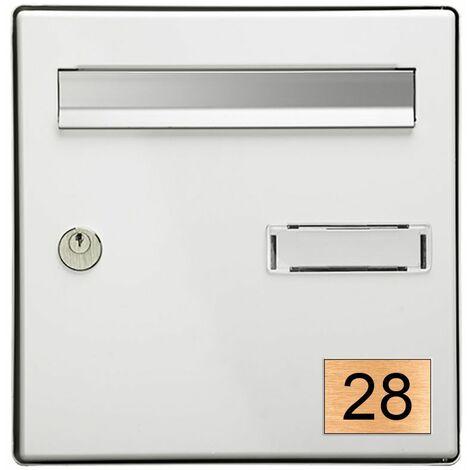 Numéro pour boite aux lettres personnalisable rectangle format médium (70x50mm) cuivre chiffres noirs