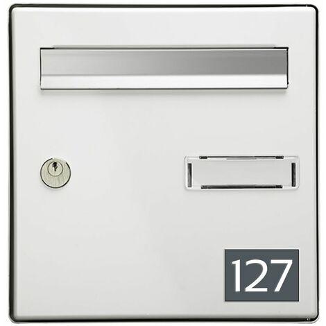 Numéro pour boite aux lettres personnalisable rectangle format médium (70x50mm) gris chiffres blancs