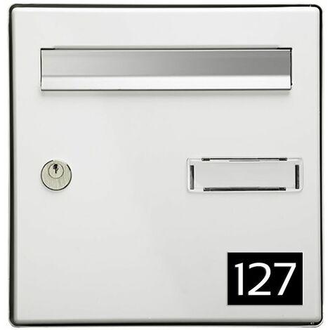 Numéro pour boite aux lettres personnalisable rectangle format médium (70x50mm) noir chiffres blancs