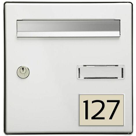 Numéro pour boite aux lettres personnalisable rectangle grand format (100x70mm) beige chiffres noirs
