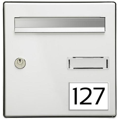 Numéro pour boite aux lettres personnalisable rectangle grand format (100x70mm) blanc chiffres noirs