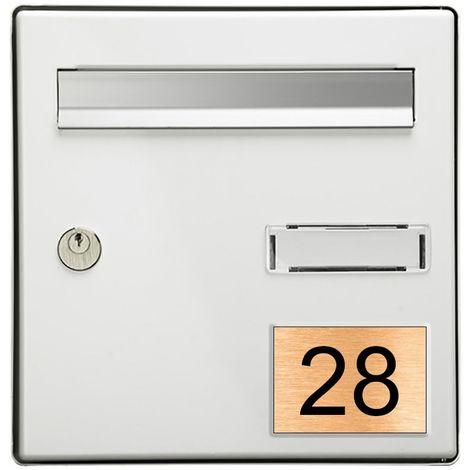 Numéro pour boite aux lettres personnalisable rectangle grand format (100x70mm) cuivre chiffres noirs