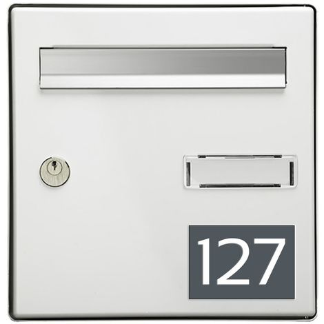 Numéro pour boite aux lettres personnalisable rectangle grand format (100x70mm) gris chiffres blancs
