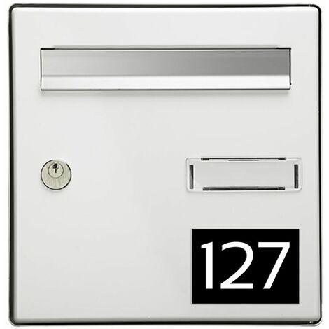 Numéro pour boite aux lettres personnalisable rectangle grand format (100x70mm) noir chiffres blancs
