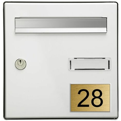 Numéro pour boite aux lettres personnalisable rectangle grand format (100x70mm) or brossé chiffres noirs