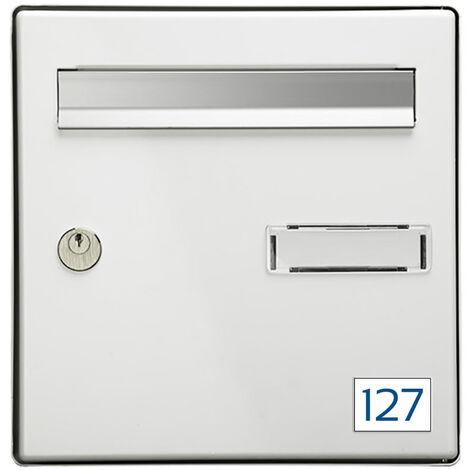 Numéro pour boite aux lettres personnalisable rectangle petit format (50x35mm) blanc chiffres bleus