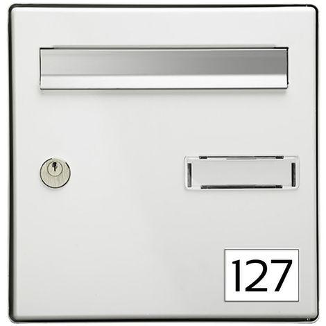 Numéro pour boite aux lettres personnalisable rectangle petit format (50x35mm) blanc chiffres noirs