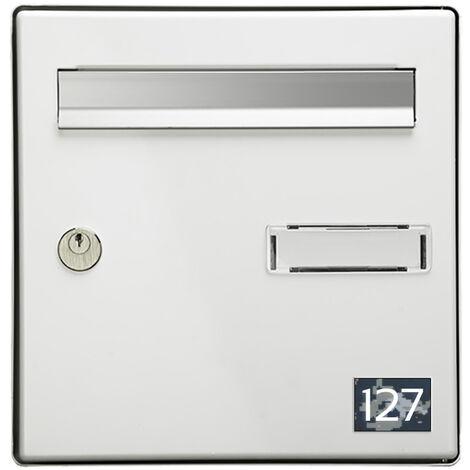 Numéro pour boite aux lettres personnalisable rectangle petit format (50x35mm) Camo Bleu chiffres blancs