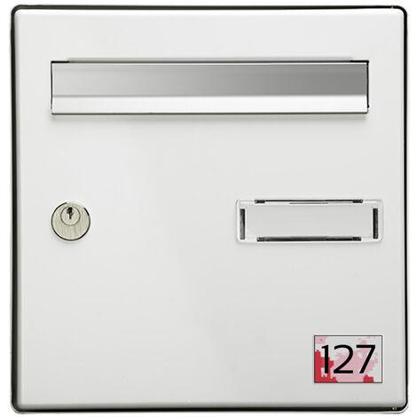 Numéro pour boite aux lettres personnalisable rectangle petit format (50x35mm) Camo Rose chiffres noirs