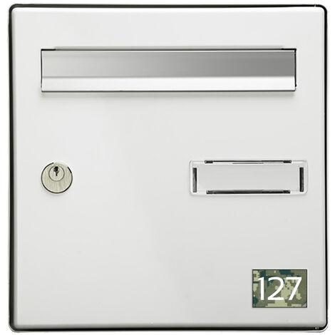Numéro pour boite aux lettres personnalisable rectangle petit format (50x35mm) Camo Vert chiffres blancs