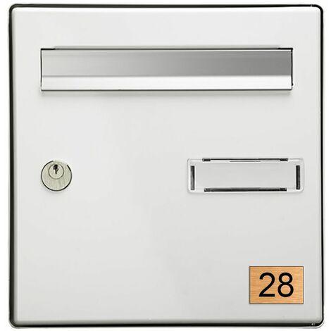 Numéro pour boite aux lettres personnalisable rectangle petit format (50x35mm) cuivre chiffres noirs