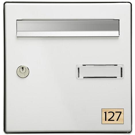 Numéro pour boite aux lettres personnalisable rectangle petit format (50x35mm) effet bois clair chiffres noirs