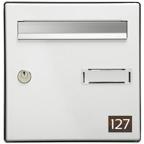 Numéro pour boite aux lettres personnalisable rectangle petit format (50x35mm) effet bois foncé chiffres blancs