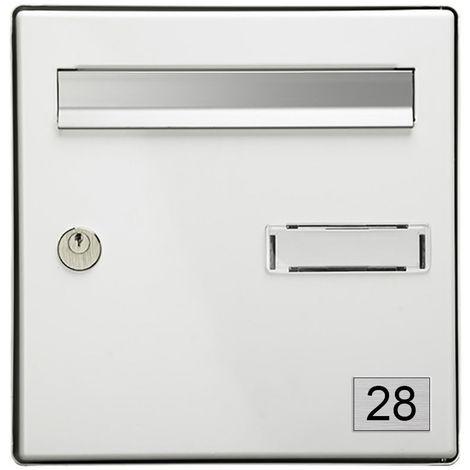Numéro pour boite aux lettres personnalisable rectangle petit format (50x35mm) gris argent chiffres noirs